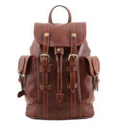 Nara Leather Backpack with side pockets Коричневый TL141661