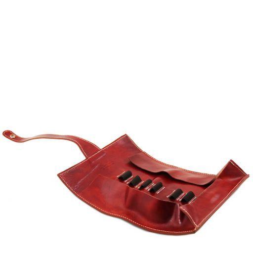 Esclusivo porta penne in pelle Rosso TL141620