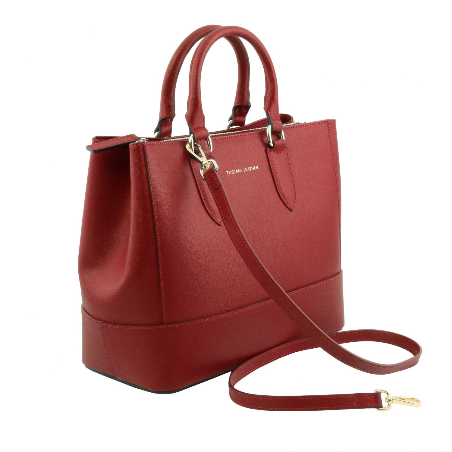 Tuscany Leather TL Bag Sac à main en cuir Saffiano - TL141638 (Rouge)