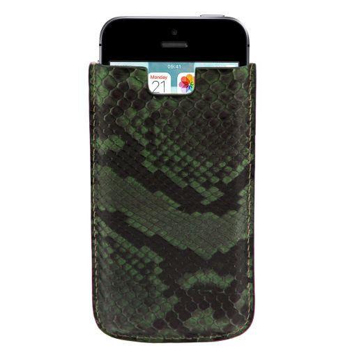 Porta iPhone SE/5s/5 en piel de pitón Verde Oscuro TL141130