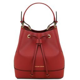 Minerva Borsa secchiello da donna in pelle Saffiano Rosso TL141436