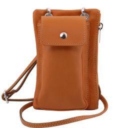 TL Bag Mini Schulter-Handytasche aus weichem Leder Cognac TL141423