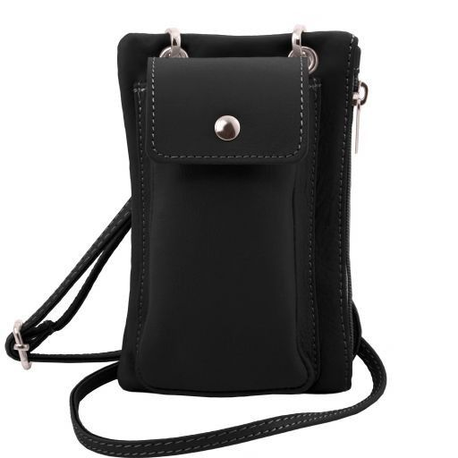 TL Bag Soft Leather cellphone holder mini cross bag Black TL141423