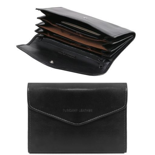 Exclusive leather accordion wallet for women Black TL140786