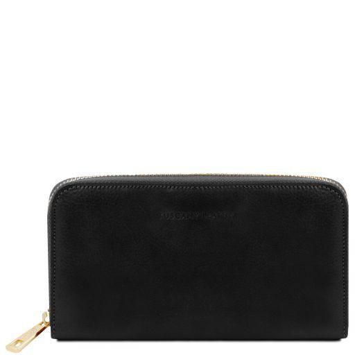 Esclusivo portafogli in pelle da donna con zip su 3 lati e soffietti Nero TL141206