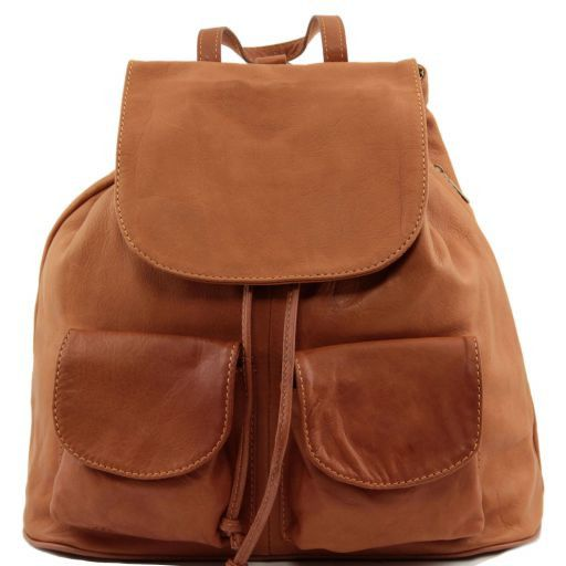Seoul Leather backpack Large size Cognac TL90142