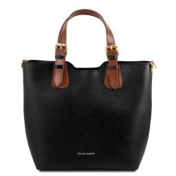 TL Bag Shopping Tasche aus Saffiano Leder Schwarz TL141696