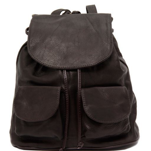 Seoul Рюкзак из мягкой кожи - Малый размер Темно-коричневый TL90143