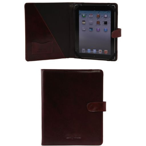 Porta iPad in pelle con bottone Marrone TL141170