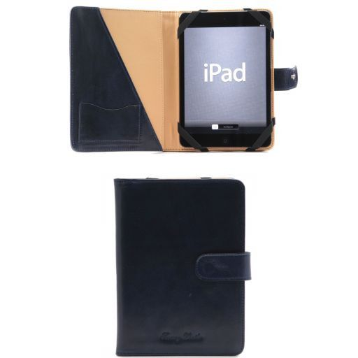 Leather iPad Mini 4 case with snap button Blue TL141171