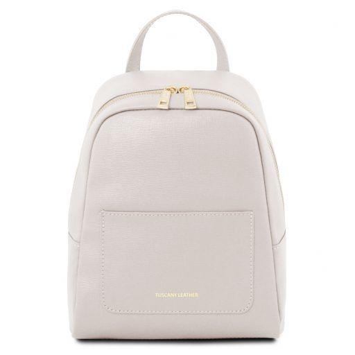pas cher pour réduction 3a3ce 77ed2 Petite sac à dos en cuir Saffiano pour femme - Blanc