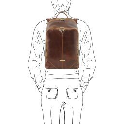 Mumbai Leather backpack Brown TL141715