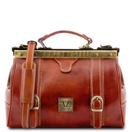 Monalisa Doctor gladstone leather bag with front straps Honey TL10034