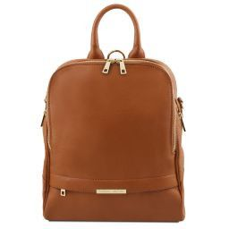 TL Bag Soft leather backpack for women Cognac TL141376