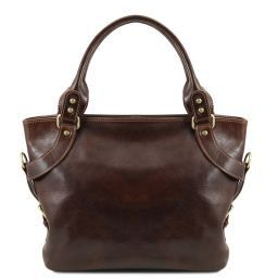 Ilenia Leather shoulder bag Dark Brown TL140899