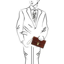 Arthur Elegante bolsillo de señor en piel Marrón TL141444