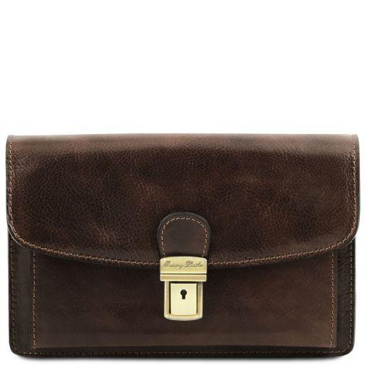 Arthur Exclusive leather handy wrist bag for man Dark Brown TL141444