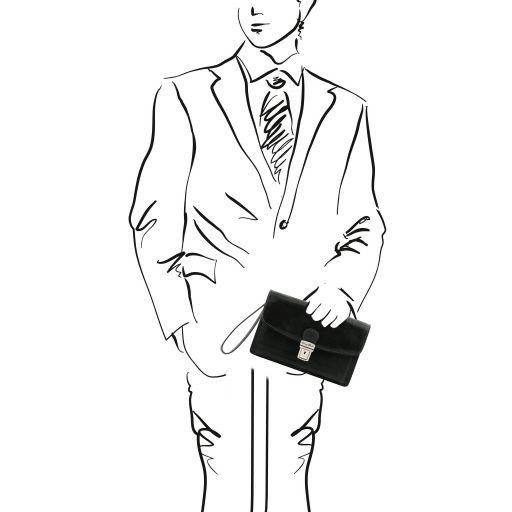 Arthur Exclusive leather handy wrist bag for man Black TL141444