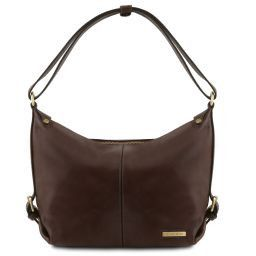 Sabrina Leather hobo bag Dark Brown TL141479