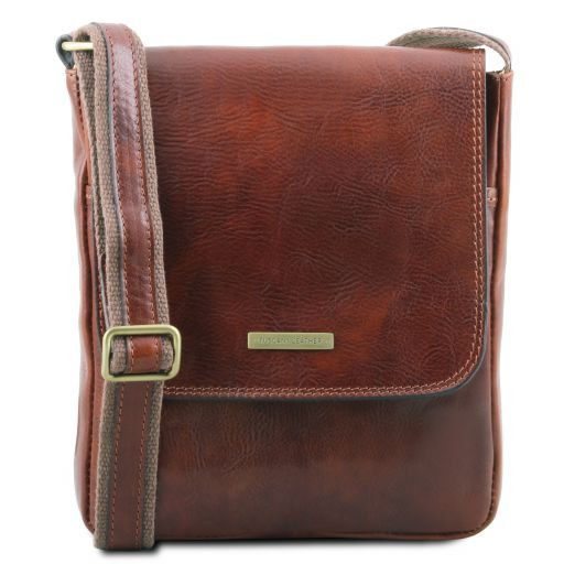 2540ac15bc9d John Leather Crossbody bag for men With Front zip Brown TL141408