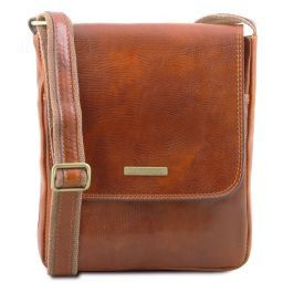 John Leather crossbody bag for men with front zip pocket Мед TL141408