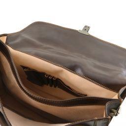 Napoli Cartable en cuir avec 2 compartiments Noir TL10027