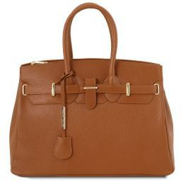TL Bag Leather handbag with golden hardware Cognac TL141529