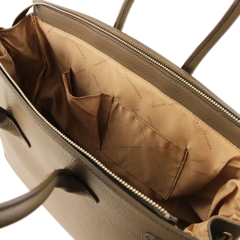 tl bag sac main pour femme avec finitions couleur or taupe fonc tl141529. Black Bedroom Furniture Sets. Home Design Ideas