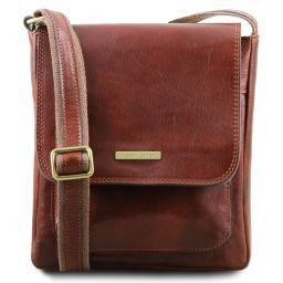Jimmy Leather crossbody bag for men with front pocket Brown TL141407