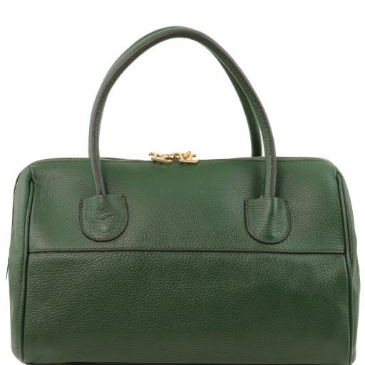 "TL Bag Leather ""Bauletto"" with golden hardware Dark Green TL141210"
