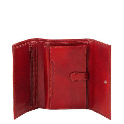 Elegante monedero de mujer en piel Rojo TL140796