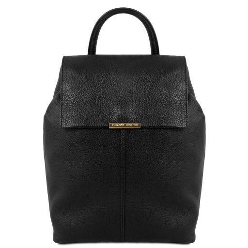TL Bag Lederrucksack für Damen aus weichem Leder Schwarz TL141706