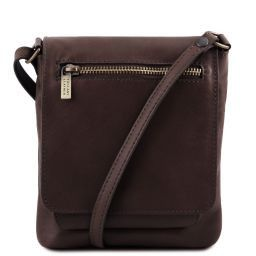 Sasha Unisex soft leather shoulder bag Dark Brown TL141510