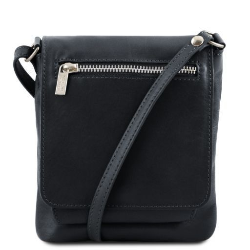 Sasha Unisex soft leather shoulder bag Black TL141510