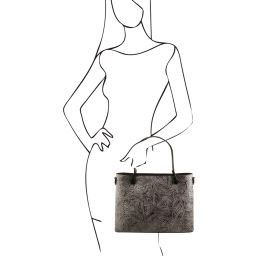 Atena Leather shopping bag with floral pattern Grey TL141655