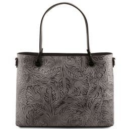 Atena Leather shopping bag with floral pattern Серый TL141655