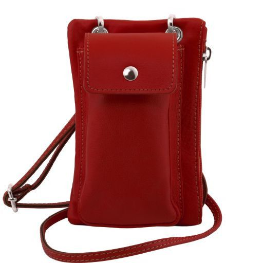 TL Bag Soft Leather cellphone holder mini cross bag Red TL141423