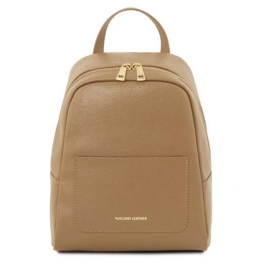847562a9dc2a7 TL Bag Kleiner Damenrucksack aus Saffiano Leder Karamell TL141701