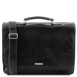 Mantova Leather multi compartment TL SMART briefcase with flap Black TL141450