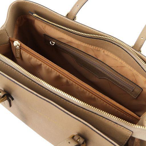 TL Bag Borsa a mano in pelle Saffiano Caramello TL141518