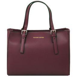 Aura Leather handbag Bordeaux TL141434