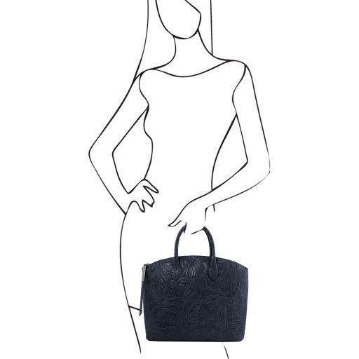 Gaia Borsa shopping in pelle stampa floreale Blu scuro TL141670