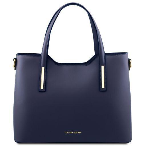 Olimpia Shopping Tasche aus Leder Dunkelblau TL141412