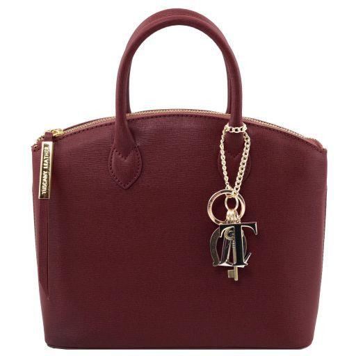 TL KeyLuck Saffiano leather tote - Small size Bordeaux TL141265