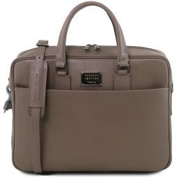 Urbino Saffiano leather laptop briefcase with front pocket Dark Taupe TL141627