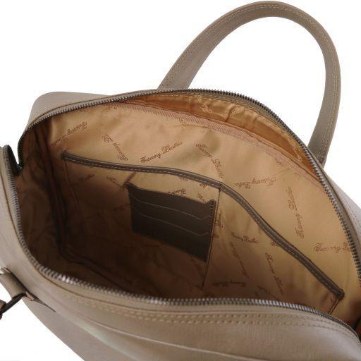 Urbino Notebook-Aktentasche aus Saffiano Leder mit Vorderfach Dunkel Taupe TL141627