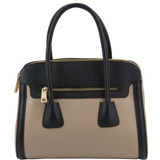 TL Bag Borsa a mano media in pelle bicolore Nero TL141225