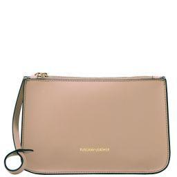 Febe Leather clutch handbag Бежевый TL141513