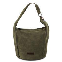 TL Bag Borsa a spalla in pelle scamosciata Verde TL141754