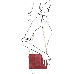 TL Bag Leather clutch with chain strap Bordeaux TL141636